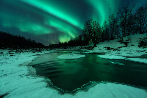 earthlynation:  River Lights by Arild Heitmann   A shot from saturday evening. Despite a long period with cold weather this river still provides some amazing opportunities…