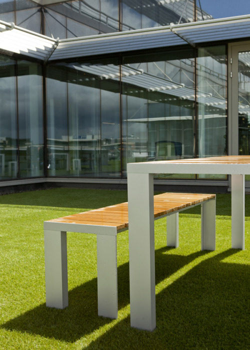 Let's go outdoor with STUA: Publicis agency has an amazing terrace over the city and the river that feature Deneb table and benches so that you can breathe real air.STUA Design Blog