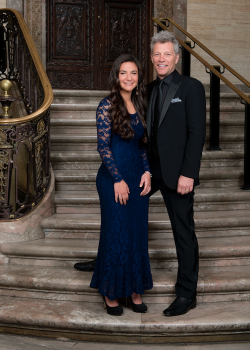Jon Bon Jovi with essay winner Francesca Marinaro