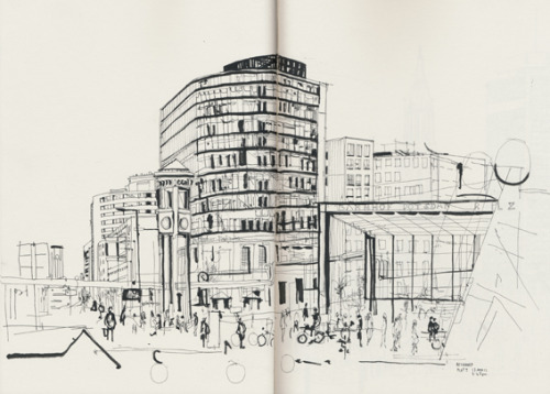 Potsdamer Platz, Berlin. Drawn on location.