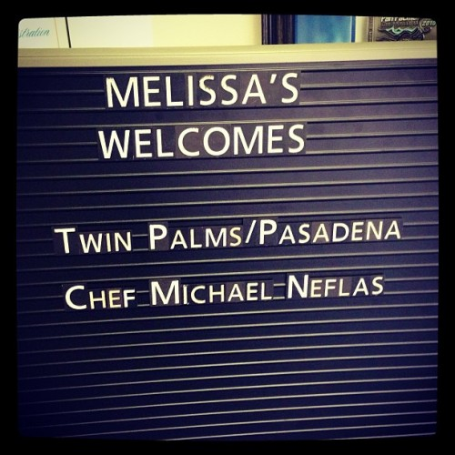 Gonna be a great day today w/ chef Michael Neflas of Twin Palms w/ Bryson of Melissa's Farm Fresh Produce. BOOM#😎 (at Melissa's Produce)