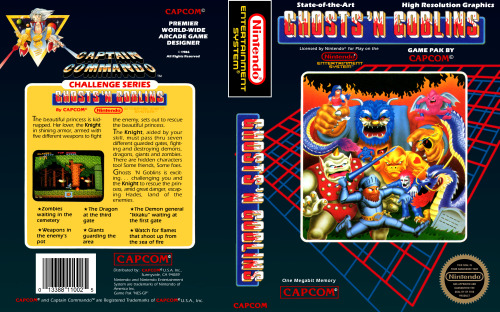 NES Box Art: Ghosts 'N Goblins The beautiful princess is kidnapped. Her lover, the Knight in shining armor, armed with five different weapons to fight the enemy, sets out to rescue the beautiful princess. The Knight, aided by your skill, must pass through seven different guarded gates, fighting and destroying demons, dragons, giants and zombies. There are hidden characters, too! Some friends, some foes. Ghosts 'N Goblins is exciting… challenging you and the Knight to rescue the princess, amid great danger, escaping Hades, land of the enemies! Gameplay || Wiki