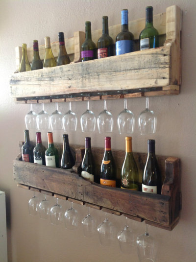 Today's pallet porn:  Wine racks made from pallet wood. That's three recurring Unconsumption themes — pallet-, wine-, and storage-related repurposing — all rolled into one photo!  (photo via DelHutsonDesigns on Etsy)