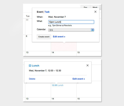 Google Calendar - Typed times in the event description are automatically used as the start time. Also works with a time range (e.g. 12pm to 2pm)./ via Erik Getzel