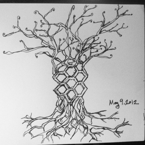 trees. hexagons. something about axel erlandson. blah blah blah… #drawing #ink #art #sketchbook #trees