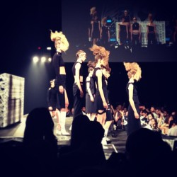Black minidresses, and white boots, and texturized faux-hawks - oh my! #jwanderson #versus #versace CE