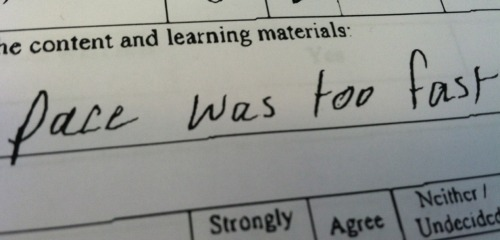 "Someone wrote this on their evaluation form and now I can't get Linkin Park's ""Points of Authority"" out of my head."