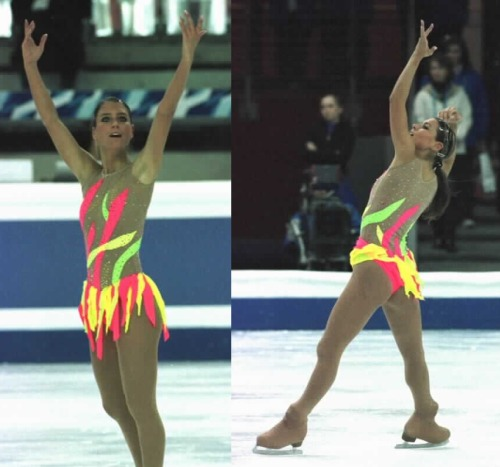 Illusion fabric is not always a friend. Diana Poth's free skate costume at the 2005 European Championships. Photos by Barry Mittan. www.jbmittan.com/skaterpix2005/20511623.JPG www.jbmittan.com/skaterpix2005/20511613.JPG