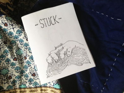 My new zine Stuck is available on etsy! Quarter-sized, 12 pages, no text.