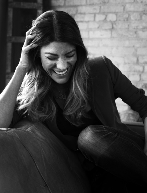 Jennifer Carpenter in Black and White, laughing