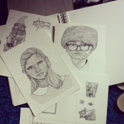 Just found some Moonrise kingdom portraits I never finished #whatelseisnew #portraits #moonrisekingdom #ink #drawing