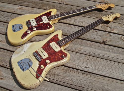 mmguitarbar:  Two of Danocaster's blonde Jazzmasters: a '64 and a '74. Breathtaking.