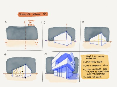 """Quick perspective drawing tip, how to divide evenly the surfaces along the vanishing lines."" Made With Paper by joaquimmeira"