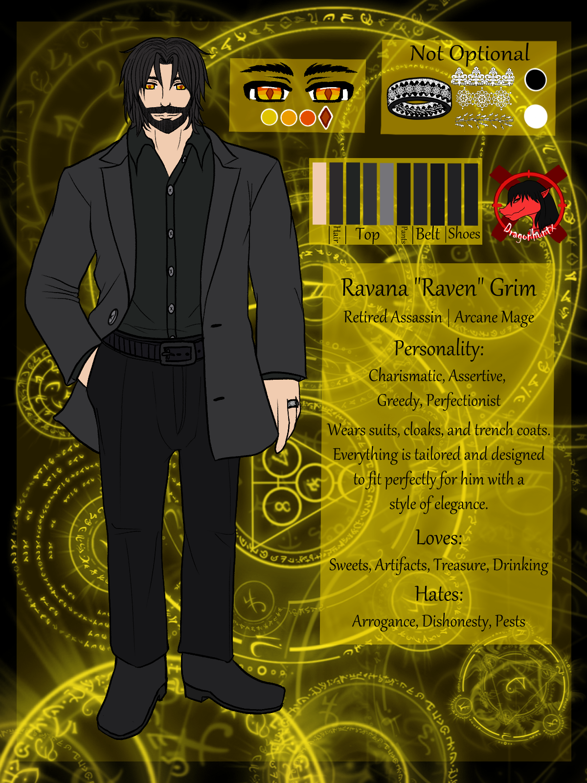 Ravana Grim Reference Sheet A simple ref for my man's character and husband of Belle.Took a while, but he liked how he came out.(I still need to get better at drawing men, bleh.) BackgroundArt: Dragonhuntx #Dragonhuntx#Ravana#Raven#Grim#Ravana Grim#art#digital art#drawing#digital drawing#reference sheet#ref sheet#character sheet#male#man#human#retired#assassin#arcane#mage#rune#runes#magic#suit#style#white#black#beard