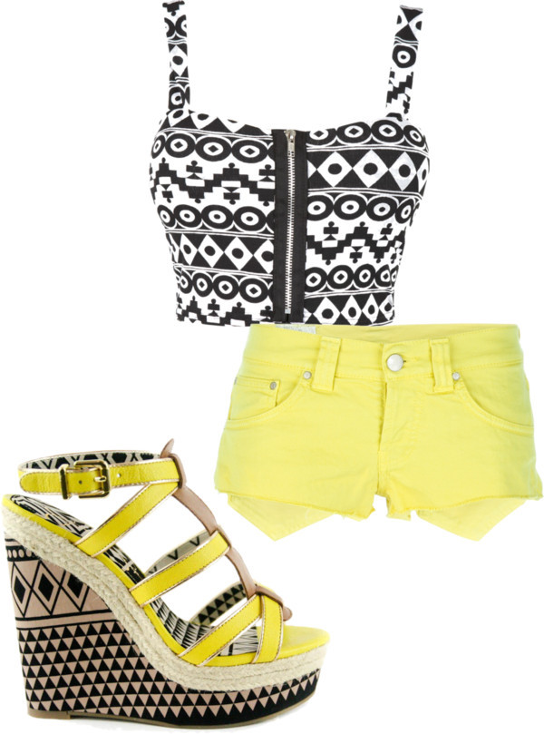 summer por blauerosen con wedge heelsBra top, $15 / Dondup leather shorts / Jessica Simpson wedge heels