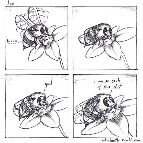 threewordphrase:  radarbeetle:  Bee - Antagony 13 I received the Three Word Phrase Volume One book for Christmas and as a result this is so far 'based' on [THIS HERE FUCKING FANTASTIC COMIC] by the endlessly awesome [Ryan Pequin] that it really just is that comic so i'll call it a tribute and give all due credit to Ryan Pequin.  cool cool cool
