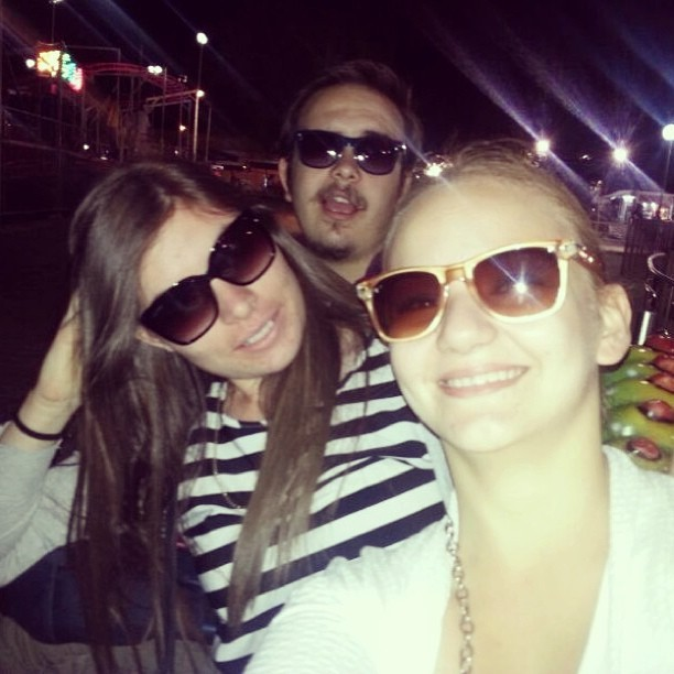 The apachies put #sunglasses on #thenight and they love being taken a #photo. #picoftheday #smile #pose #lunapark