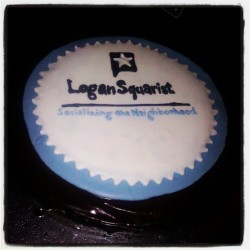 Check out this amazing handmade cake with the @LoganSquarist logo on it made by @kellydull! So blessed!