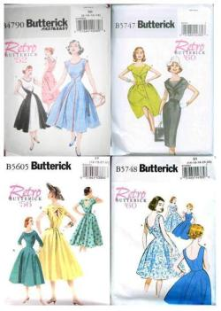 rosamakes:  Retro Butterick Pattern Wish-list I was thrilled to discover these on my last trip to Fabric Land. I was so excited I have to admit I bought number B5747 and now cannot choose a fabric as I want it to be perfect, look at that beautiful collar! I'm thinking perhaps polka dots to go with the 50's/60's theme… My favourite skirt however must be 5605 and 5748 as they look like they would have a wonderfully fun swing to them to wear. I love the back on 5605 as well, especially view C with the button. I don't think the photos on the website do any of the patterns justice though I must say as a two minute on-line search turns up lots of gorgeous versions of each dress, far nicer than those on the Butterick website. Lastly, 4790 excites me as it is, of course, a reissue of the famous 'Walk-Away' dress, and with the promise of it being both 'fast and easy' I may well be swayed to try this one first… I will try to post my first review when I tackle my first retro pattern. Happy sewing x The patterns can be found here: http://butterick.mccall.com/retro-pages-371.php