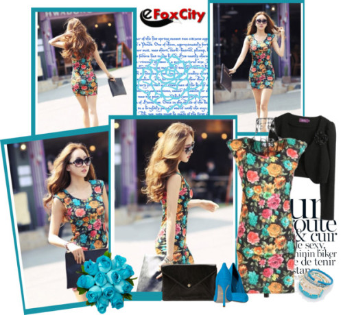 e FoxCity: the flowers di bodangela contenente colorful dressesColorful dress / Colorful dress / Colorful dress / Colorful dress / Black coat / Forever 21  / Eurø Style bracelet bangle / Floral Gemstone Sparkling Seas Aquamarine Rose Bouquet