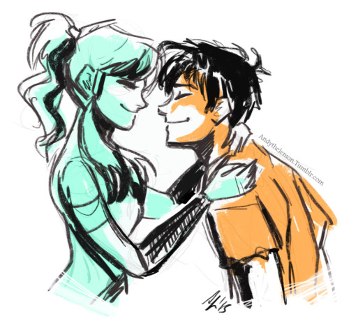 andythelemon:  Korra would find Percy adorable and just want to squish his cheeks in ok Sometimes I really start to question my life choices… someone please stop me before this becomes a regular occurrence. ;__;