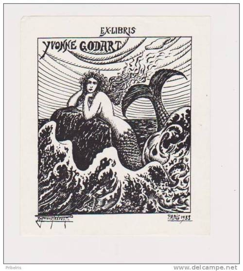 """ Ex Libris of Yvonne Godart ""  …  Mermaid Bookplate by Artist:  Raymond Prevost [1933]"