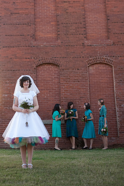 A colorful crinoline and vintage bridesmaid dresses! Wonderful, and vintage-inspired! From OBB
