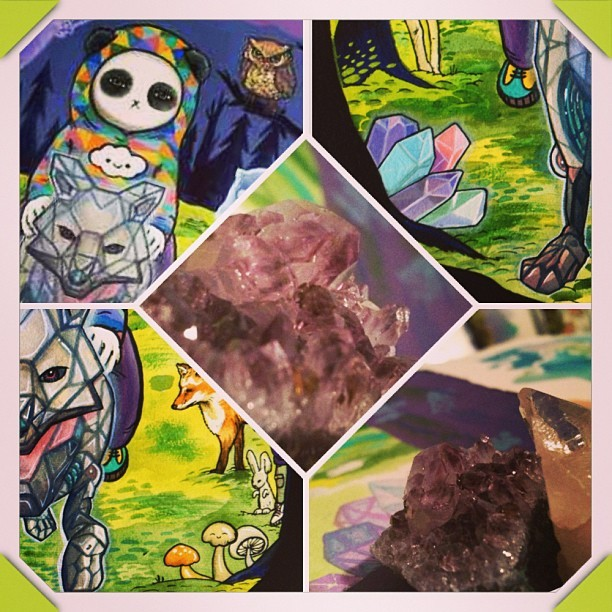 Lots of #crystals happening over here too @friendswithyou #crystalinfusedart #art #cute #mumbot