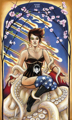 Eight of Wands AFP Tarot CardArt by Barbara Beer (@pandorasmango). Check out more of Barbara's art: Barbara Bëër Illustration