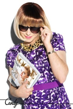 "Happy birthday to Luis Venegas, here as Anna Wintour by Brett Lloyd, for his queer magazine ""Candy""."