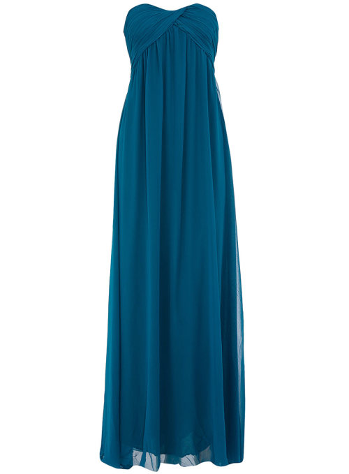 Teal Bandeau Pleat Maxi Dress by Dorothy Perkins