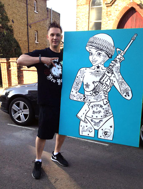 Tom's acquired a Trooper canvas by the fantastic Rugman. Why does this choice seem so perfect. ;) Shared on FB:    Rum Knuckles     Everyone in the office is ecstatic that Tom Hardy is putting our Trooper design up in his gaff!!!For more official Rugman original designs make sure you check us out on Instagram! CHUFFEEEDD    Ha, I've taken quite a few photos of Rugman walls.   rugmanart.com  (reposting because I sharpened the image and added source credits)