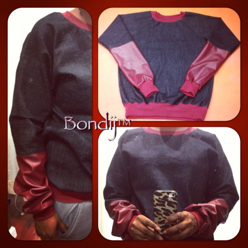 Bondij stretch denim and leather sweatshirt available in Men's & Women's