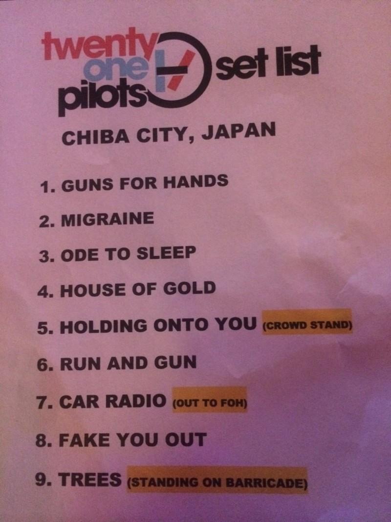 twenty one pilot'ssetlist in summer sonic festival in tokyo, japan