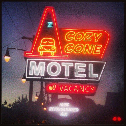 Cozy Cone Motel #Disneyland #Disney #CaliforniaAdventures #Carsland #cozycone #neon #lights  (at Disneyland/California Adventure)