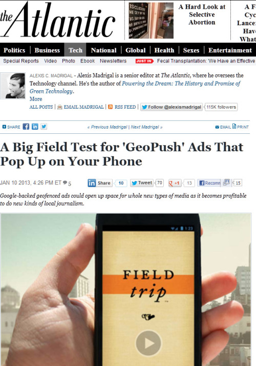 Geo-Push Scoutmob deals straight to your phone with Field Trip! Catch the details on the Atlantic.