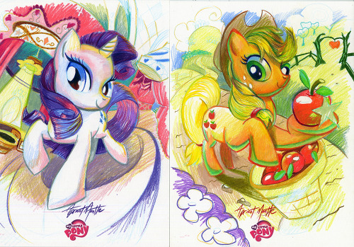apricotmantle:  Rarity and AppleJack first completed sketch plates for IDW Limited. Be on the lookout for these this summer with some exciting My Little Pony exclusives!