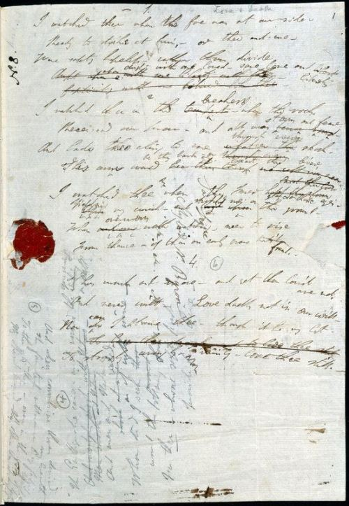 thinkingoflolita:  Autograph draft of Byron's last poem 'Love and Death', 1824, thanks to The British Library on Facebook.