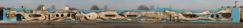 New huge wall painting 70 metres long by CANEMORTO, in the North of Italy. Here is a stop-motion video about how it's made. More information, walls and projects by CANEMORTO can be found in their website: http://www.canemorto.tk/