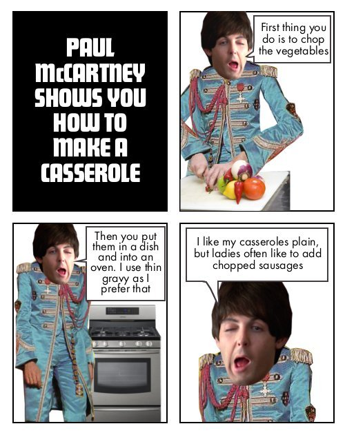 Paul McCartney shows you how to make a casserole.