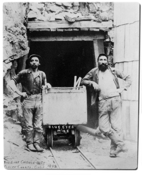 "thedenimfoundry:  Miners, ""Blue Eyes Mine"" Placer County, California, 1882 The village of Last Chance is situated high up in the mountains, on a ridge south of the main branch of the North Fork of the Middle Fork of the American river, at an altitude of nearly five thousand feet.  The greatest backset to the rapid settlement of the place and development of it's mining resources, is the great depth which the snow falls in the winter. During the winter season it is sometimes impossible for miners to obtain supplies, except by packing them themselves over the snow from Deadwood, a distance of seven miles. After the snows fall at the beginning of the winter season, it is sometimes months that the inhabitants have no communication with the lower world, except occasionally when an expressman travels over the snow to Michigan Bluff to procure letters and papers, which he takes to the people at the moderate charge of twenty-five cents for each letter and paper. Text taken from the Last Chance Directory 1861"