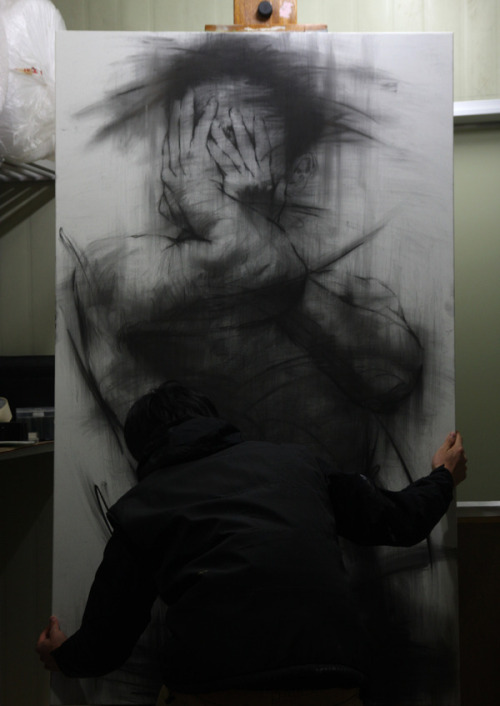 foxmouth:  Charcoal on Canvas, 2013by KwangHo Shin