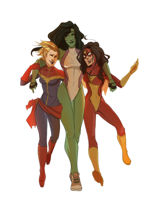 [ a digital drawing of Captain Marvel (Carol), She-Hulk, and Spider-Woman walking together. Jen's arms are thrown around both their shoulders and they look happy and wonderful together. ] mortovox:  I GOTS AN AWESOME COMMISSION FROM ISTEHLURVZ it's perfect