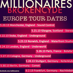 EUROPE HERE WE COME! @themillionaires #allisongreen #millionaires #melissamarie #europe #bc13 #brokencyde #london #scotland #germany #paris #france