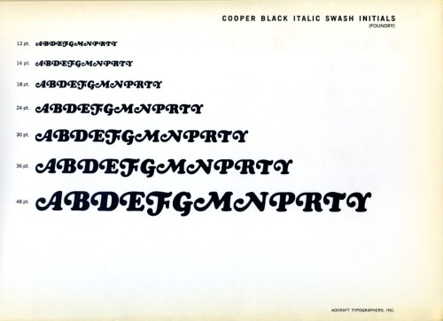 The Cooper Black alternate swash initials in this type specimen were designed by Oswald Cooper in 1926.