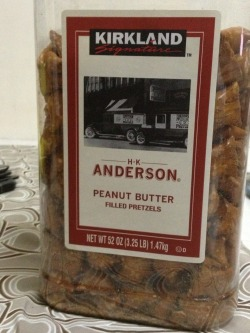 These peanut butter filled pretzels lower the I.Q. of the whole street.