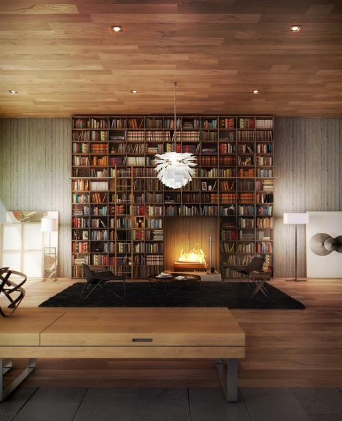 Amazing #bookshelf with a blazin' #fireplace++ Really cool #interior space++