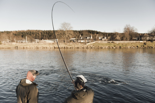 Salmon fishing in River Spey, Scottland.
