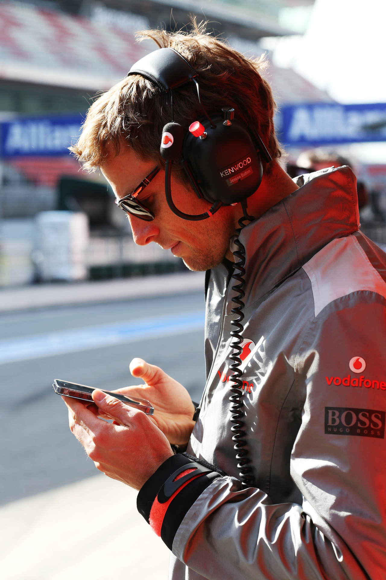 "mclaren-soul:  ""Jenson, are you tweeting?"" (Pulling 10 G's MegaLOLZ!) Tooned is coming in 2 weeks…"