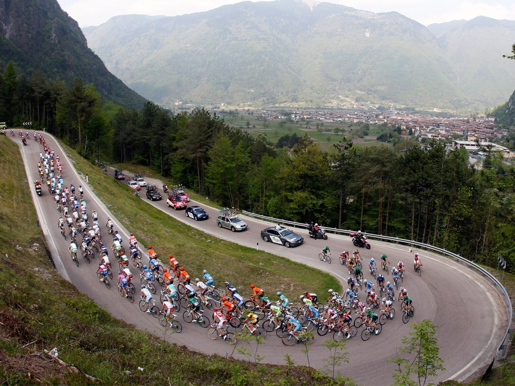 Riders ascent during the Giro del Trentino.